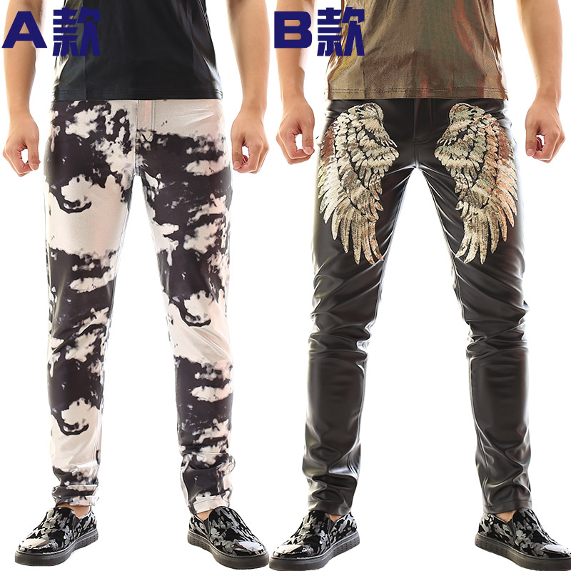 2016 New Personality  Male novelty Camouflage Leather Pants Costumes Nightclub male singer dj ds punk slim trousers