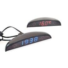В 12 в салона автомобиля 3 в 1 автомобиль часы Вольтметр термометр и Напряжение метр мониторы сенсорный выключатель синий и красный свет