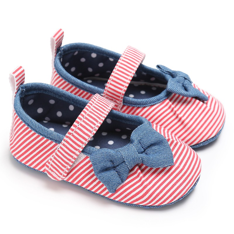 Baby Girls Shoes Butterfly-knot Kids First Walkers Shoes Infant Babe Soft Bottom Striped Shoes