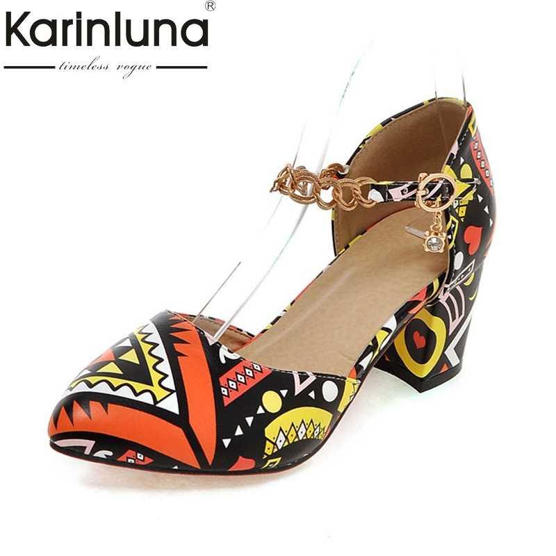KarinLuna yaz moda tatlı graffi kadın sandalet zarif metal kayış ayakkabı kadın büyük boy 32-43 yüksek topuklu tarih kadın ayakkabı