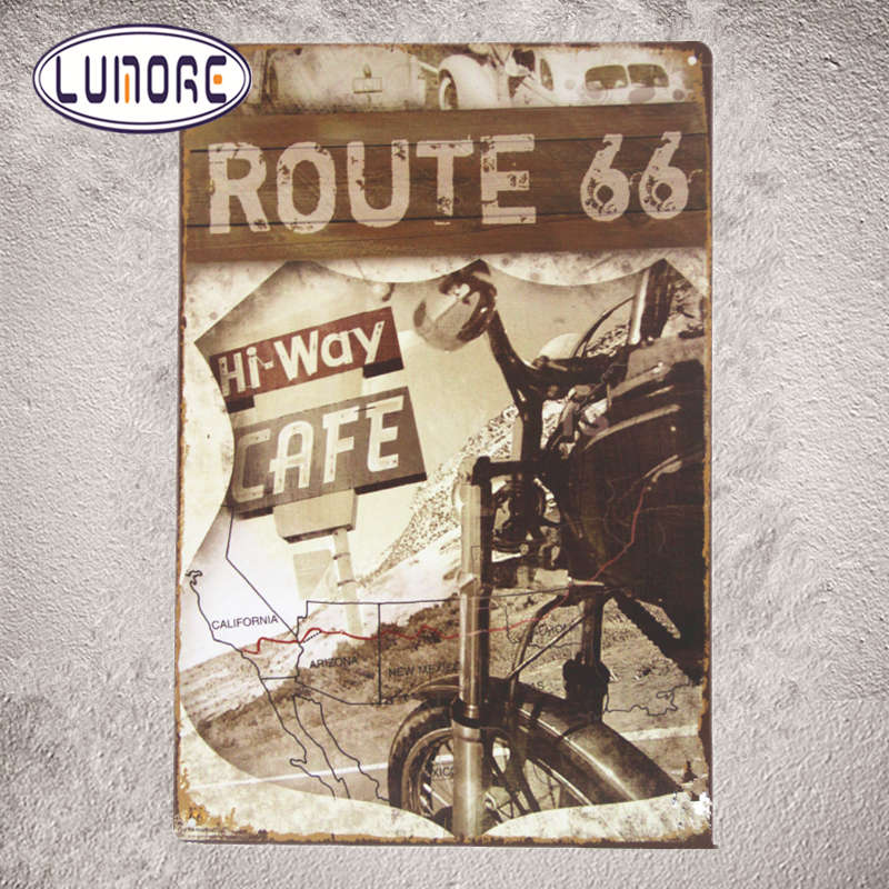 America Route 66 Hi-Way Cafe Racer Rustic Tin Metal poster Sign Bar pub Motorcycle Bike B45