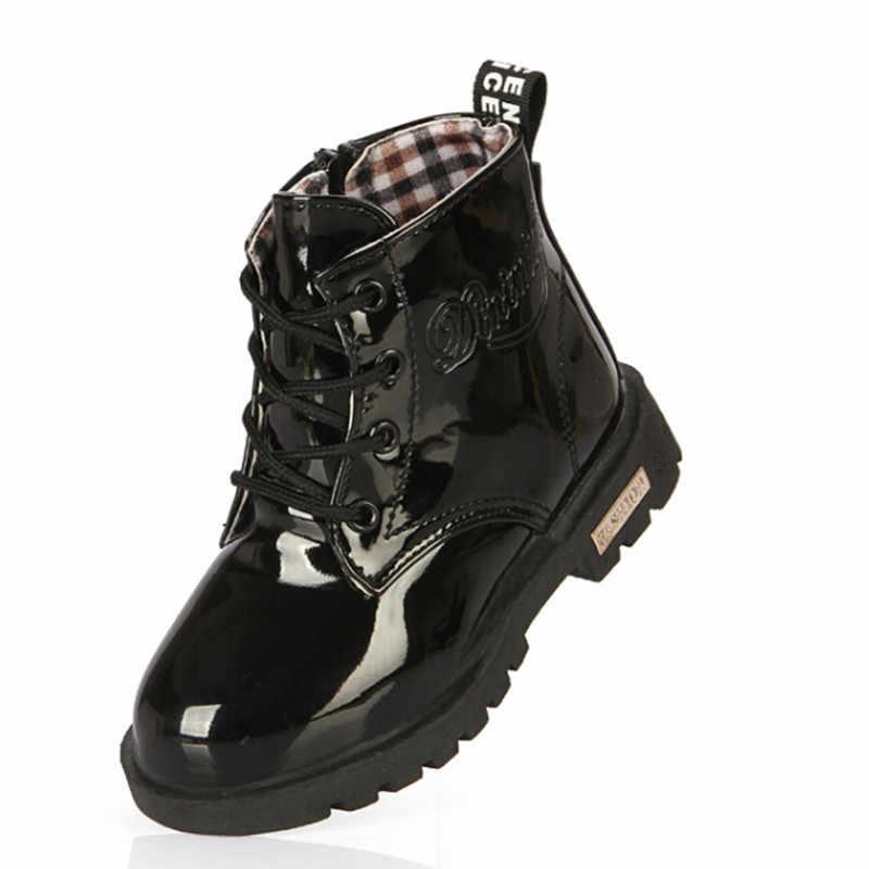 Bahar Erkek Kız PU Deri Çizmeler Su Geçirmez Moda lastik çizmeler Yürümeye Başlayan çocuk motosikleti Botas Çocuk Ayakkabı