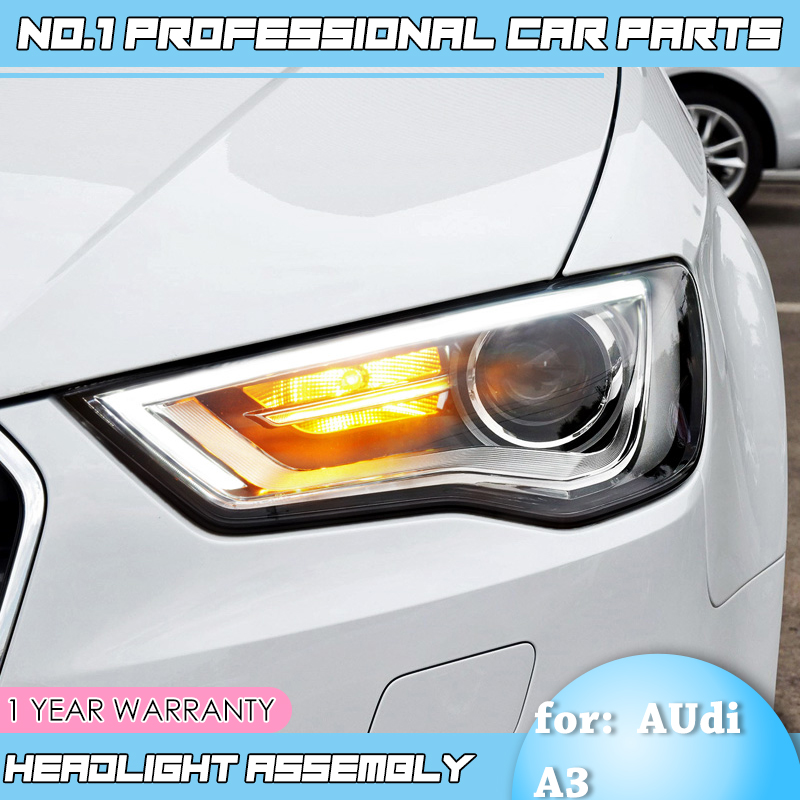 BiNFUCar Styling for Audi A3 2014 2016 for A3 head lamp LED DRL Lens Double Beam H7 HID Xenon bi xenon lens