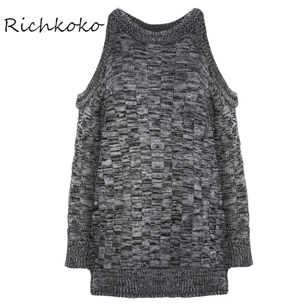 RichKoKo Apparel Gray Slim Chic Women Jumper Off Shoulder Casual Pullover Sweater Elegant Preppy Style Chic Female Sweater
