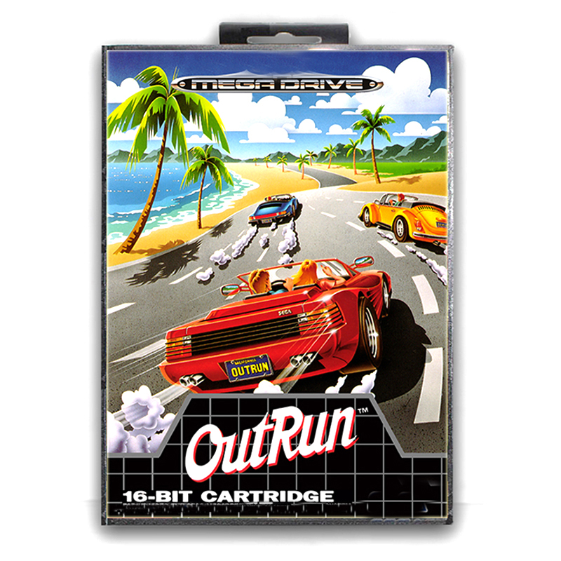 Outruns with Box for 16 bit Sega MD Game Card for Mega Drive for Genesis Video Console