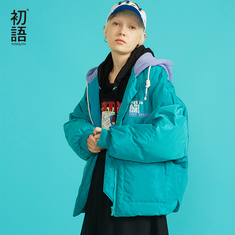 Toyouth Winter Women Short Parkas Hooded Padded Outwear Warm Coats Thickening Hoodies Overcoat Casual Streetwear Coat
