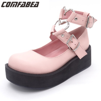 2018 Spring Autumn Japanese Harajuku punk black pink high platform big head sweet lolita platform shoes wedges pumps