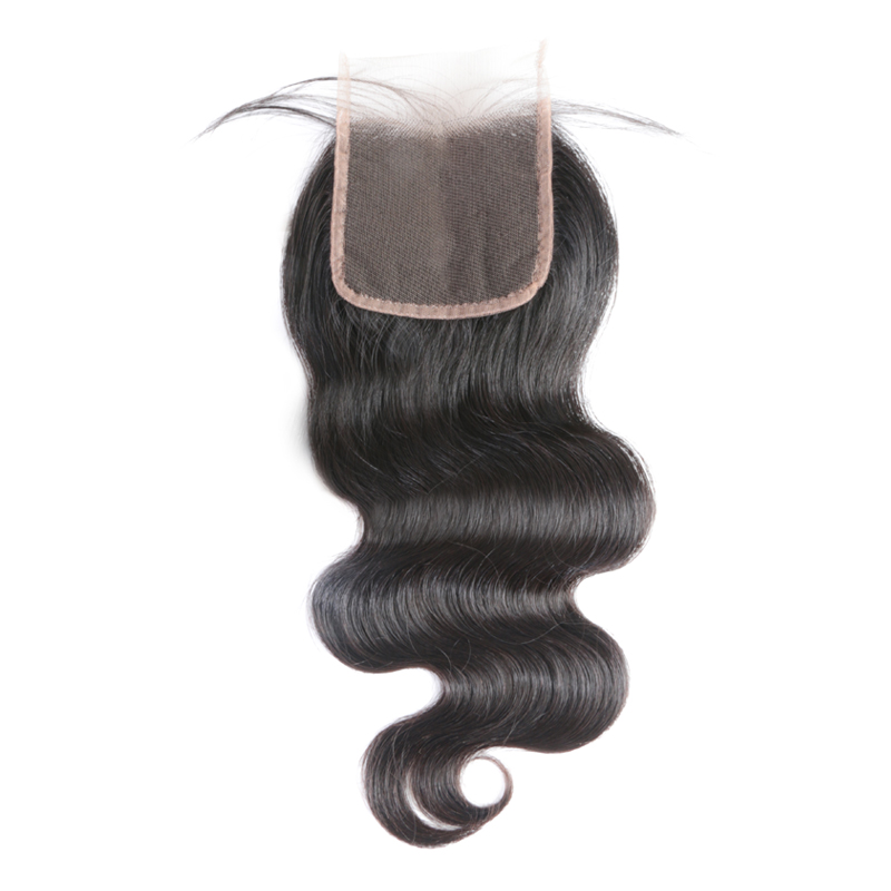Ali Queen Hair Products 5x5 Transparent Lace Closure Pre-Plucked With Baby Hair Brazilian Body Wave Virgin Human Hair Closure