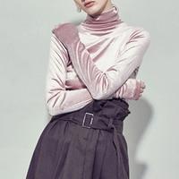 Autumn Velvet T Shirt Women Elegant Turtleneck Top Long Sleeve Winter T shirt 2017 Plus Size Tee Shirt Femme
