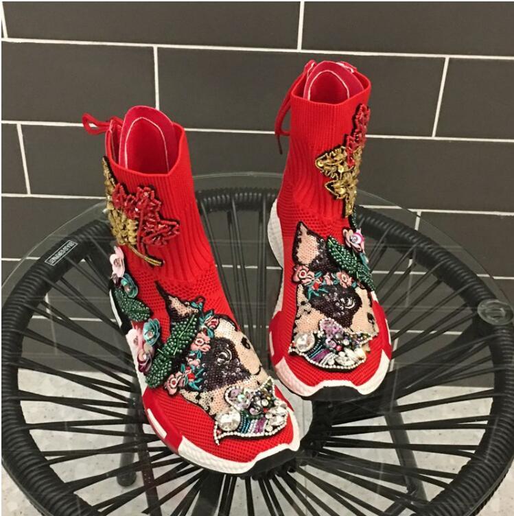 Super Haut La Baskets Thai Nouveau Volantes Chaussures dessus Élastique Sangle Bottes Derrière Vieux Rouge Femelle Casual Marque Feu Marée Chaussettes 6rwz6x