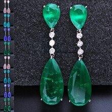 Newranos 롱 드롭 귀걸이 큐빅 지르코니아 매달려 귀걸이와 그린 퓨전 스톤 파티 쥬얼리 여성 패션 쥬얼리 EFX001862