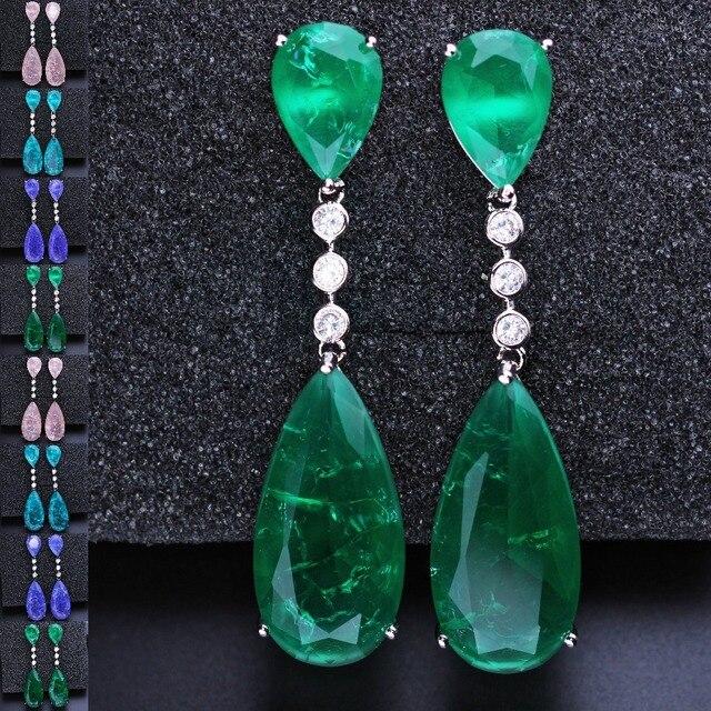 Newranos ארוך זרוק עגילים ירוק היתוך אבן עם מעוקב Zirconia להתנדנד עגילי מסיבת תכשיטי נשים תכשיטים EFX001862