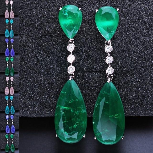 Newranos pendientes colgantes de circonia cúbica para mujer, aretes largos, piedra de fusión verde, joyería para fiesta, EFX001862