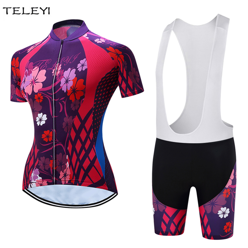 Womens Cycling Clothing Short Sleeve Jersey and Padded Cycling Shorts Sets Flowers XS-4XL