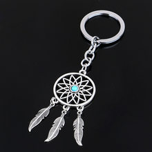 Natural stone Dreamcatcher Tassel pendant keyring jewelry feather charm keychain for women(China)
