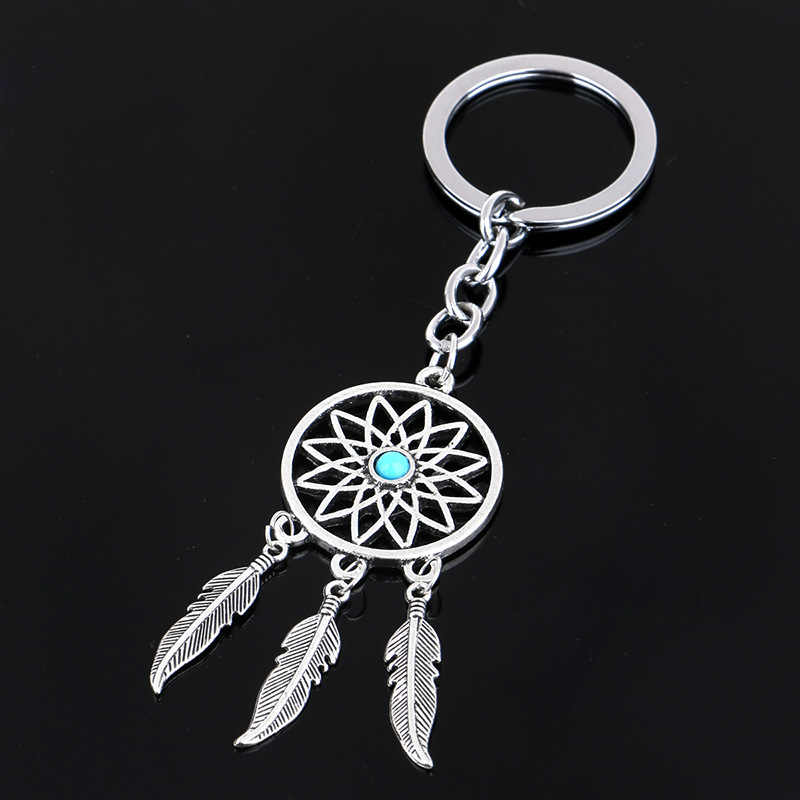 Natural stone Dreamcatcher Tassel pendant keyring  jewelry feather charm keychain for women