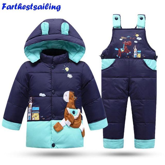 a49766633c8af 2018 Hiver Vêtements Pour Enfants Set Enfants Ski Costume Salopette Bébé  Filles Garçon Duvet de Canard