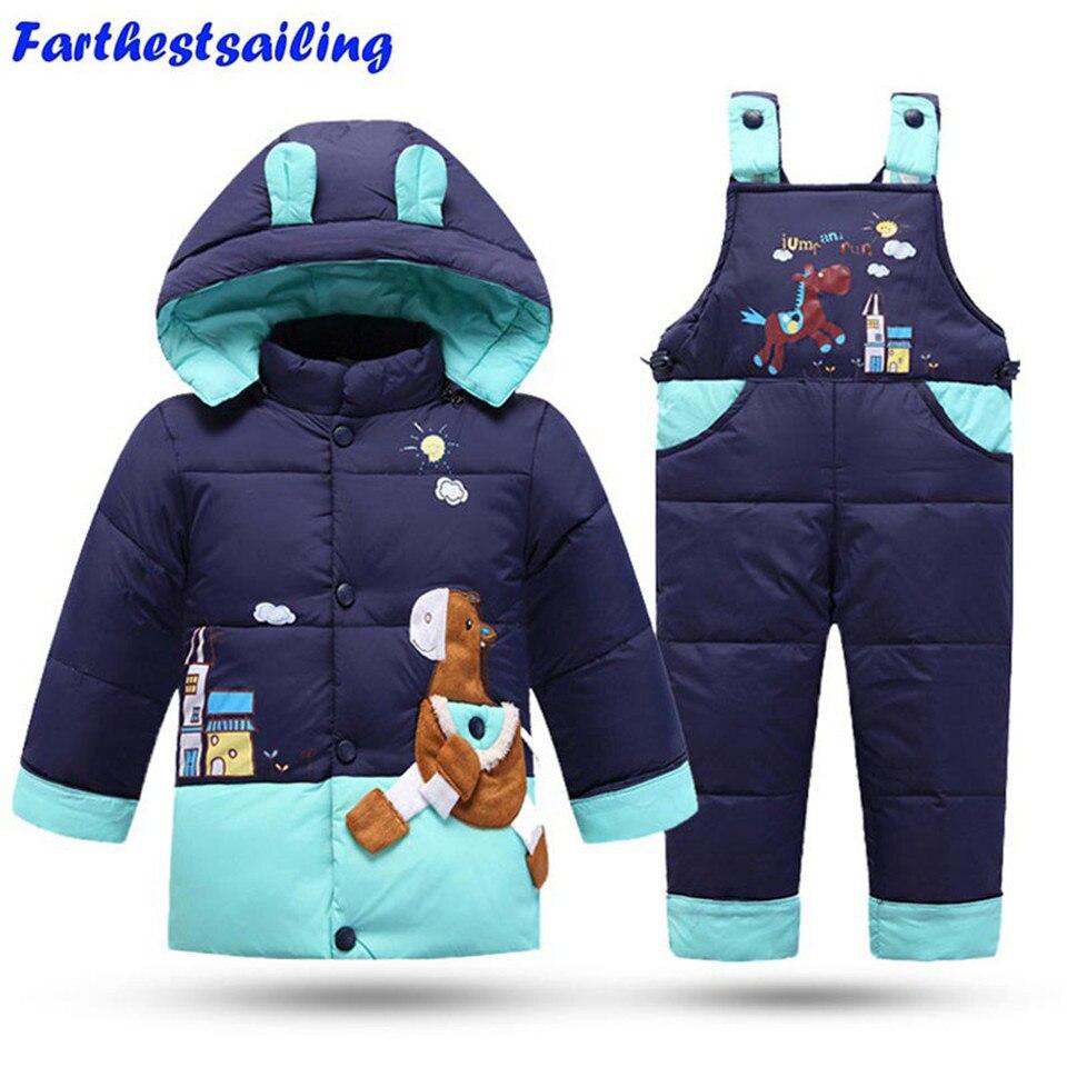 2018 комплекты зимней одежды для детей, комплект для девочек, детский лыжный костюм, Комбинезоны для маленьких девочек и мальчиков; пуховик на утином пуху пальто, теплые лыжные костюмы, куртки + штаны на подтяжках, 2 шт./компл.