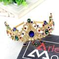 Continental Barroco corona verde/azul de cristal grande de royal crown tiara de la boda accesorios para el cabello joyería del pelo de fábrica al por mayor directa