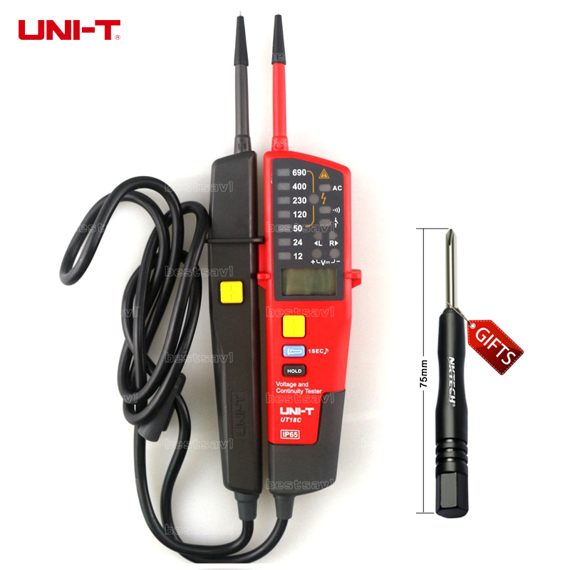 UNI-T UT18C Auto Range Voltage meter and Continuity Tester with LCD/LED Indication Date Hold RCD Test and No Battery Detection free shipping uni t c handeld lcd luminometer illuminometer lux meter tester