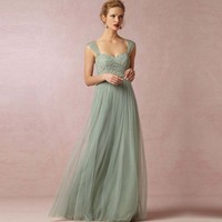 Don S Bridal Mint Green Cheap Long Chiffon Dresses Sweetheart Tulle Bridesmaid Gowns 2016 Plus Size