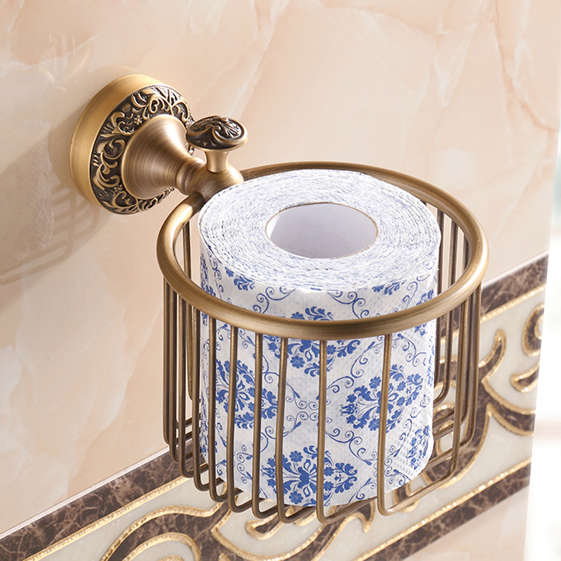 Free Shipping Bathroom Roll Paper Holder Basket Wall Mounted Brass Antique Toilet Paper Tissue Rack gold crystal wall mounted toilet paper holders brass wc roll paper tissue basket bathroom accessories