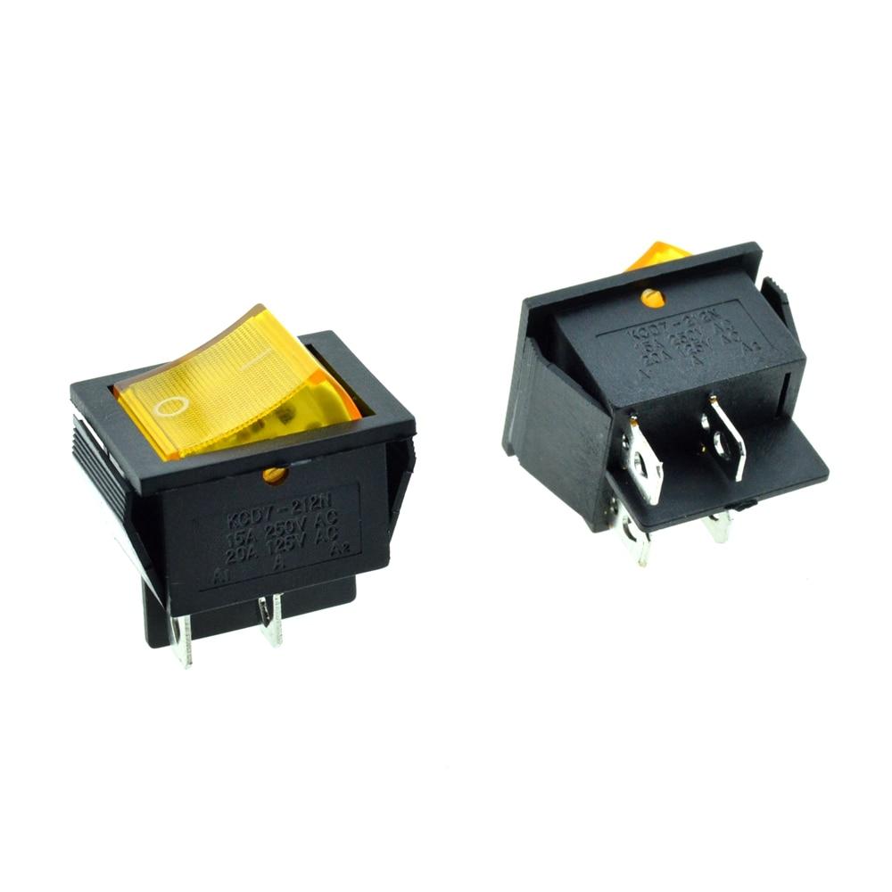 5PCS Yellow Rocker Boat Switch illuminated Light DPST 4 Pins 2 ...