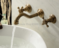 Antique Brass NEW Wall Mounted Widespread Bathroom Basin Faucet Vessel Sink Mixer Tap Dual Cross Handle