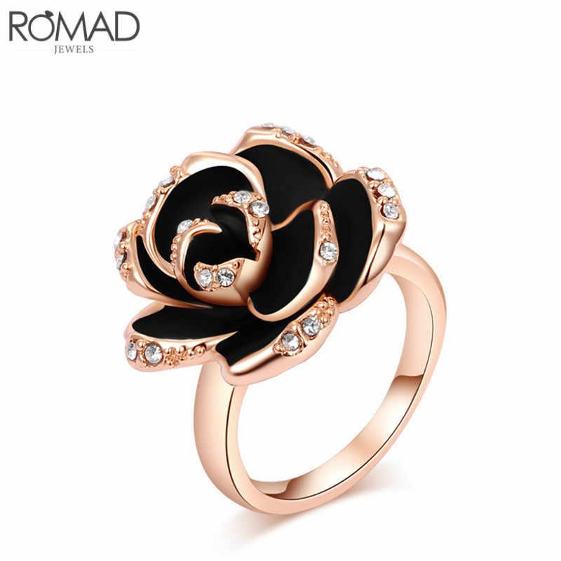 ROMAD Hotting ขายเครื่องประดับแหวน Rose Gold สีออสเตรียคริสตัลดอกไม้เคลือบสีดำ/งานแต่งงานแหวน Y3