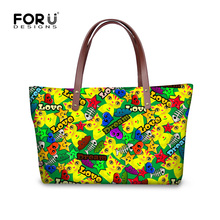 FORUDESIGNS Women Handbag Cute Cartoon Cat Fsh Print Female Totes Large Capacity Bag Casual Women Tote Bag Shoulder Handbags цена 2017