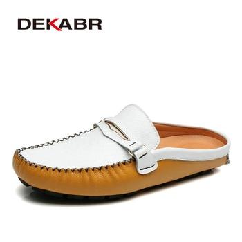 Men Moccasin Breathable 2020 Men's Loafers Designer Leather Shoes Men Cow Split Leather Fashion Lazy Shoes Luxury Brand Flats