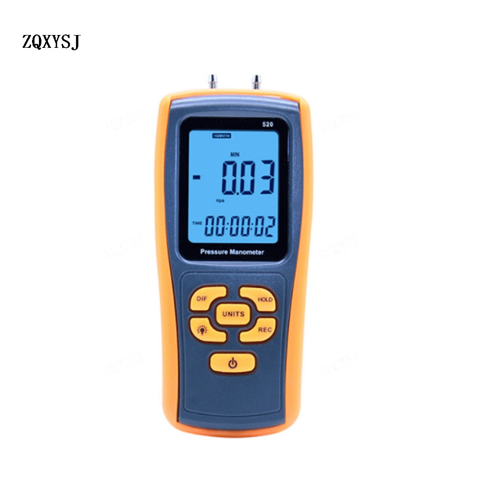 цена на ZQXYSJ 1PC GM520 Digital pressure gauge natural gas pressure gauge manometer 150kPA differential pressure gauge Hot
