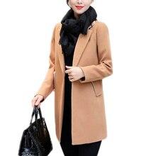Для отдыха элегантные дамы шерстяные длинные пальто осень-зима Мода Толстые Дамы Твердые Bodycon женские куртки верхняя одежда
