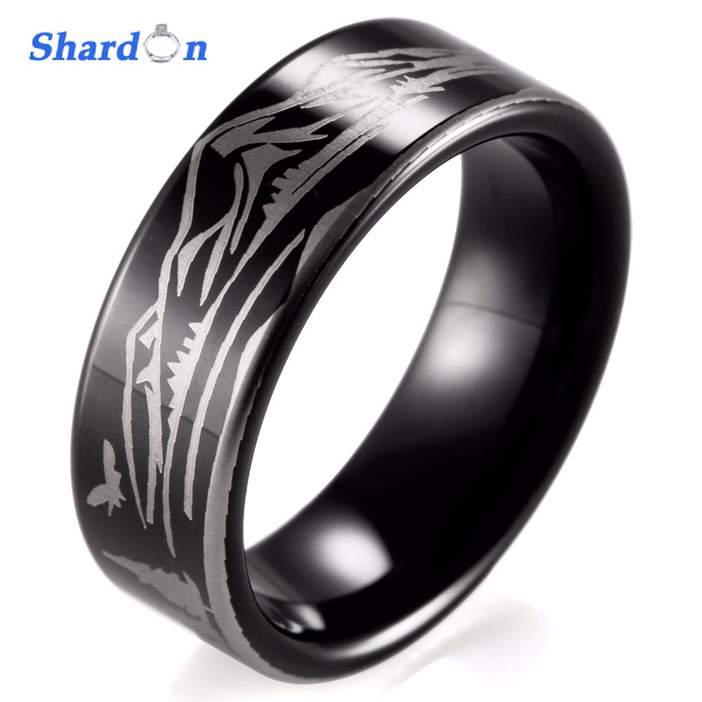 SHARDON Wedding & engagement jewelry IP black plated Men's Tungsten ring Laser Mountain and Bear unique Engagement ring