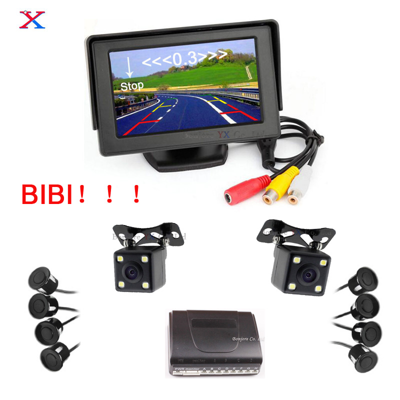 Dual Core Parking Sensors 8 Assistance 4.3' Car TFT LCD Monitor Reverse Radar Alarm with Front View Camera + Rear view Camera cтяжка пластиковая gembird nytfr 250x3 6 250мм черный 100шт