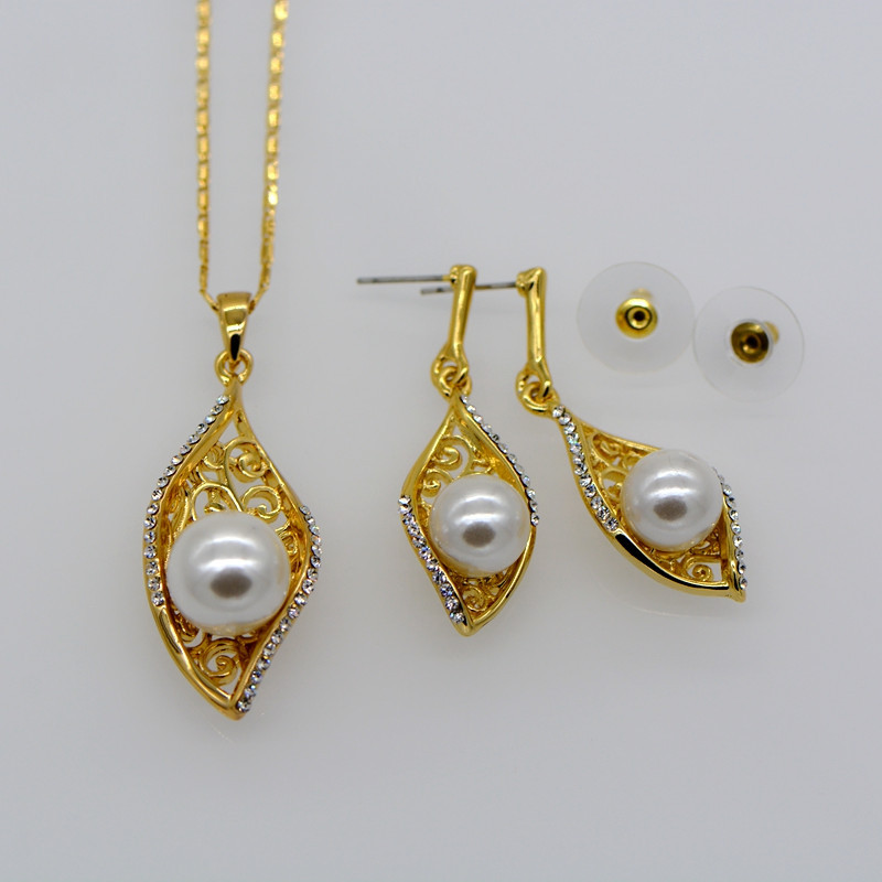 Simple design Hollow out pearl Necklace pendant Earrings ...