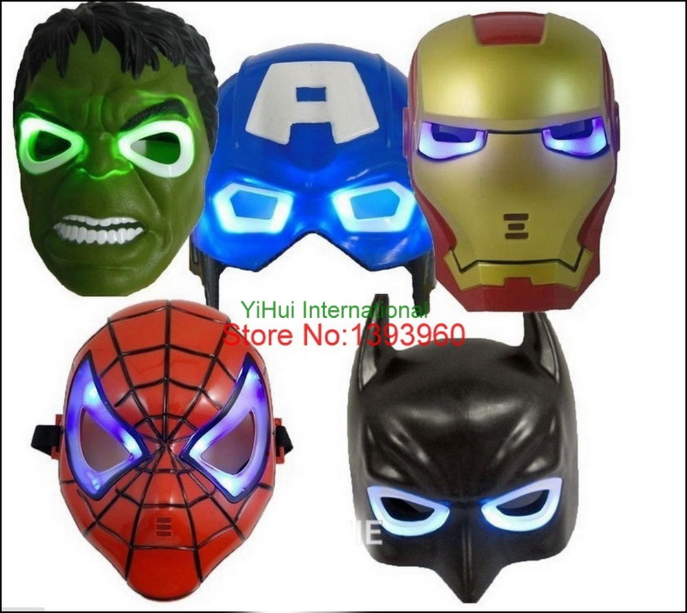 LED Glowing superhero <font><b>mask</b></font> for kid & adult Avengers Marvel Captain America Spiderman Hulk Iron man Batman <font><b>party</b></font> <font><b>mask</b></font> 5pcs/lot