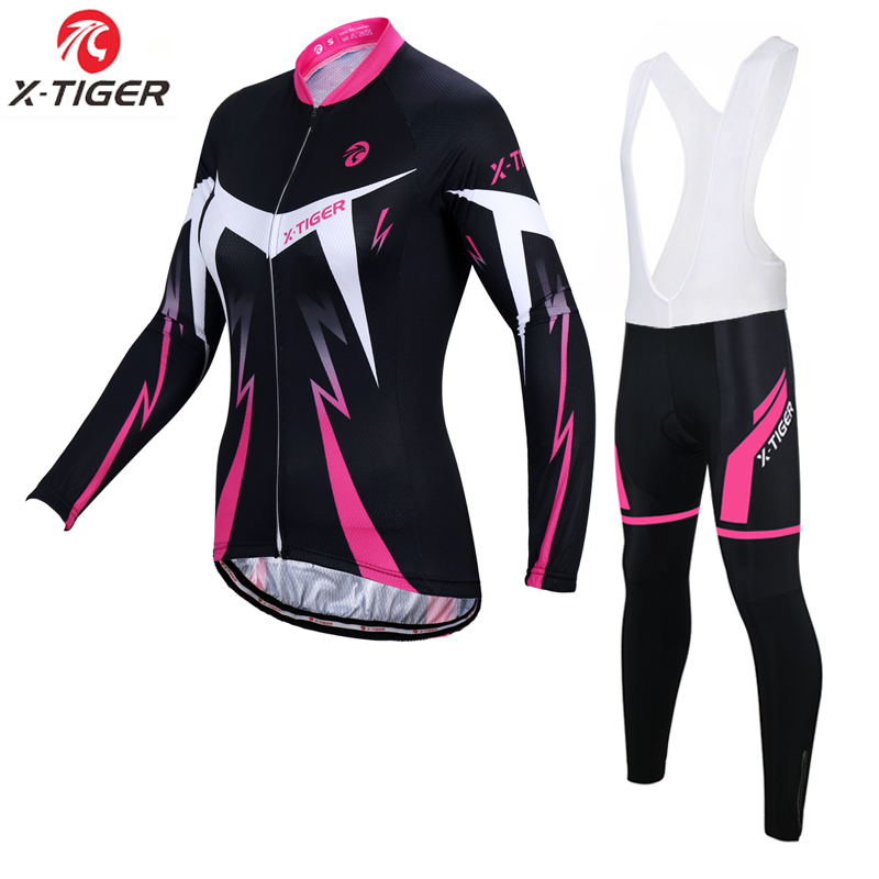 X Tiger Woman Cycling Jersey Set Quick dry Autumn Long Sleeve Bicycle Clothing MTB Bike Clothes