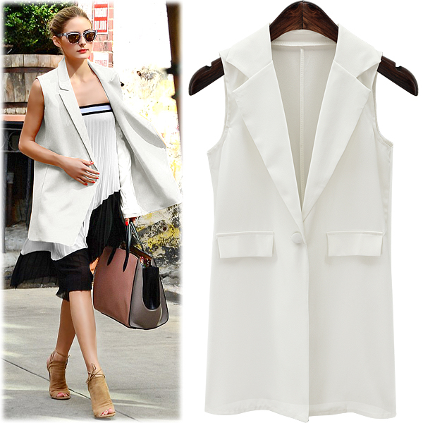 Women elegant fashion office lady jacket pocket sleeveless jacket brand casual jacket vest female
