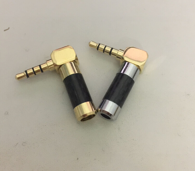 carbon fiber shell Gold Plated 90 Degree L Shape Right Angled 4 Pole 3.5mm 1/8 TRRS Jack Male Plug Audio Connector Solder 1pcs gold plated 2 5mm 4 pole 90 degree male plug diy headphone adapter l shape audio connector solder for 6mm tail hole 2pcs
