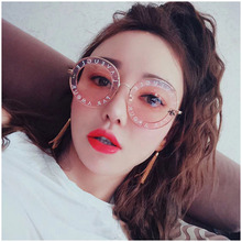 2019New fashion sunglasses retro letter round frame Brand Design Polarized colorful Reflective Sunglasses