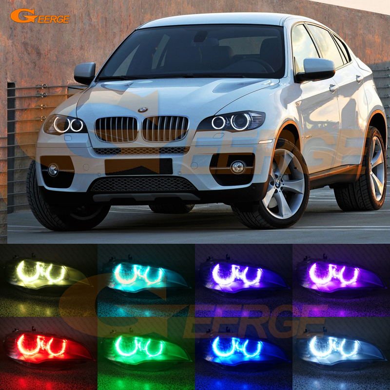 For BMW X6 E71 E72 X6M E70 X5M 2008-2014 Xenon headlight Excellent Multi-Color Ultra bright RGB LED Angel Eyes kit halo ring carbon fiber car rear bumper extension lip spoiler diffuser for bmw x6 e71 e72 2008 2014 xdrive 35i 50i black frp
