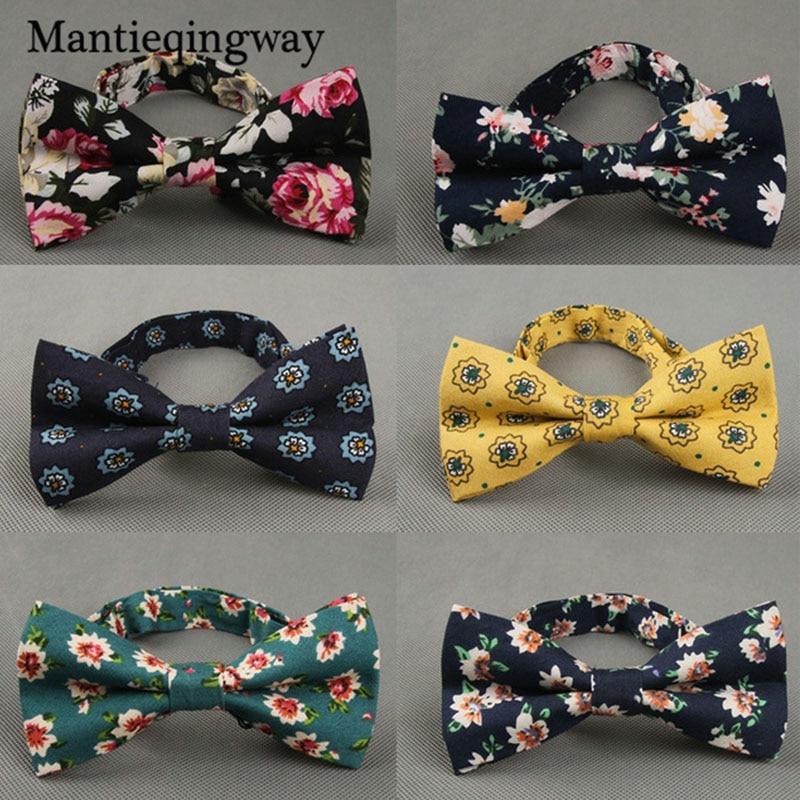 Mantieqingway Britse stijl Vintage bloem afdrukken strikje bruidegom bruiloft Gravata slanke bloemen mager Bowtie Cravat Bowtie