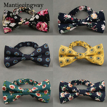 Фотография British Style Vintage Flower Printing  Bow Tie Bridegroom Wedding Gravata Slim Floral Skinny Butterfly Cravat Party Bowtie