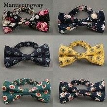 Mantieqingway британский стиль Винтаж цветок печати лук галстук Жених Свадьба Gravata Тонкий цветочный тощий галстук-бабочка галстук с бантом