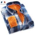 Langmeng 2016 nuevo hombre invierno cálido gruesas camisas con hombres de moda de manga larga a cuadros camisas casuales modelos revisados camisas de franela