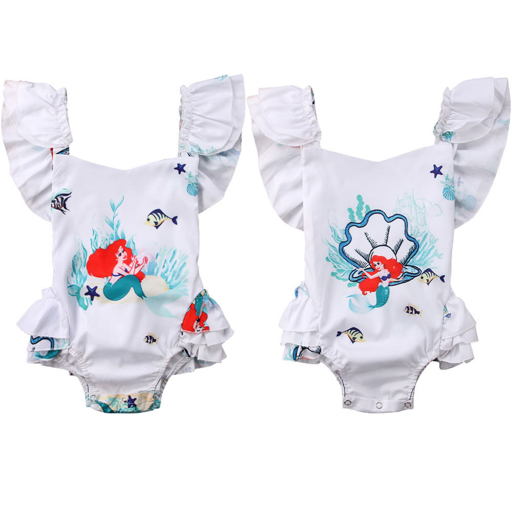 Cartoon Kids Toddler Baby Girl Mermaid Romper Jumpsuit Outfits Sunsuit