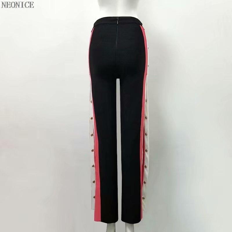 Sexy Nueva 2018 Pantalones Negro Alta Cadera Vendaje Empalme Moda Sociedad De La Club Cumpleaños Paquete Franja Mujer Botones Fiesta Nocturno ROOwqd1