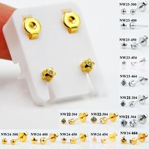 BOG-Pair 24K Gold Plating&steelCZ Gem Star Ball Ear Helix Tragus Cartilage Ear Piercing Stud Earrings 20g Piercing Body jewelry