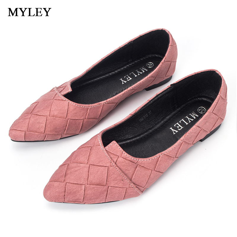 MYLEY Women Fashion Plaid Flats Shoes Pointed Toe Comfort Soft Slip-On Boat Low Heel Casual Ladies Footwear Multi Color Shoes summer slip ons 45 46 9 women shoes for dancing pointed toe flats ballet ladies loafers soft sole low top gold silver black pink